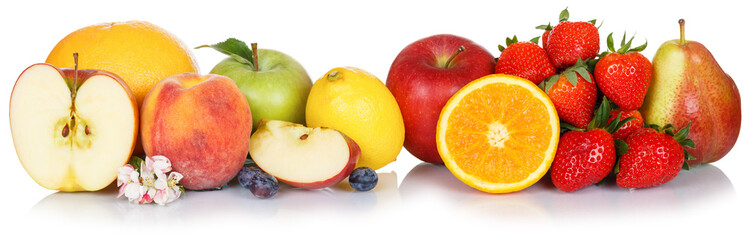 Wall Mural - Fruits collection apple apples orange fresh fruit isolated on white in a row