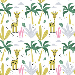 Seamless pattern with giraffe and palm trees. Vector design.