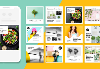 Colorful Social Media Post Set with Abstract Designs Layout