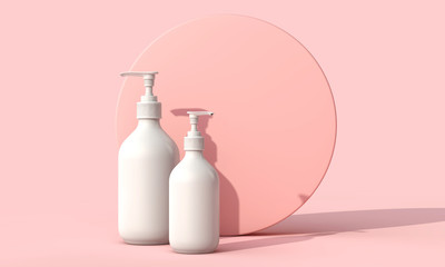 Blank white cosmetic skincare makeup bottle on pastel pink background. 3D Render