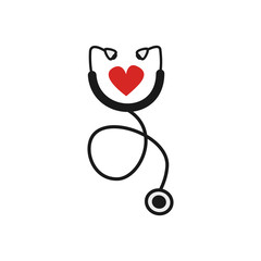 cute cartoon stethoscope with abstract heart flat vector illustration isolated on white background