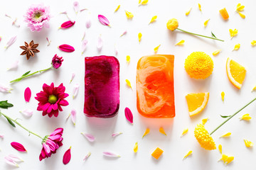 handmade soap, spa, skin care on the background of fruits and flowers