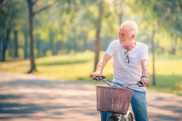 Old Man Riding on Bicycle in garden at sunset. Healthcare Concept. Relaxing in Park.