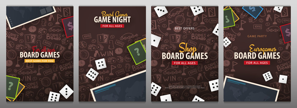Set of Board Games banners with dice,  playing cards and map. Hand draw doodle background. Vector illustration.