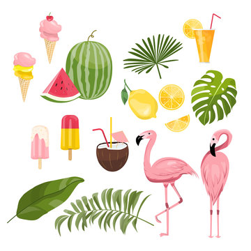 summer icons set, ice cream, drinks, palm leaves, fruits and flamingo.