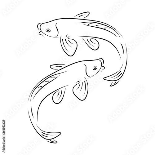 Japanese carp koi character abstract ink hand drawn vector