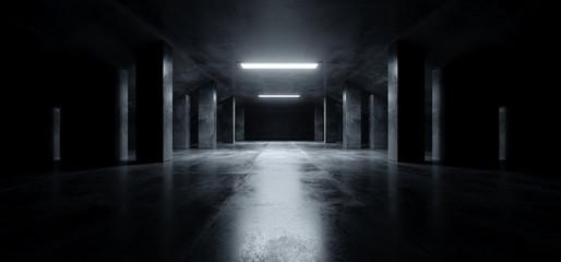 Sci Fi Modern Dark Concrete Cement Asphalt Futuristic Spaceship Elegant Underground Garage Tunnel Corridor Empty Space White Glow Glossy Columns 3D Rendering Wall mural