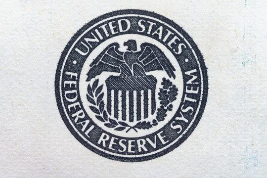 United States Federal Reserve System symbol, Eagle logo - ultra macro Close up.