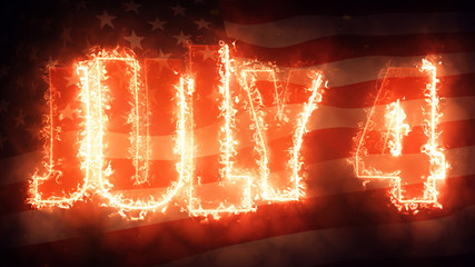 Fourth of July on USA Flag