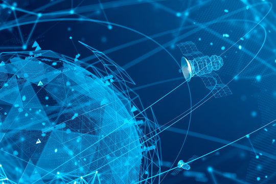 Satellites and GPS virtual blue interface