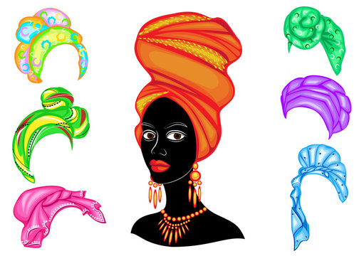 Collection. Silhouette of a head of a sweet lady. A bright shawl, a turban is tied on the head of an African-American girl. The woman is beautiful and stylish. Set of vector illustrations