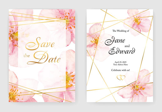 Floral vector card, wedding invitation with cherry or sacura watercolor flowers and golden elements.