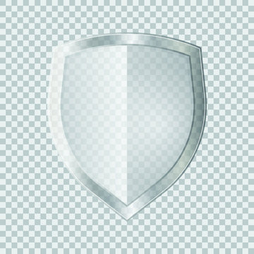 Transparent glass shield vector illustration isolated on white background