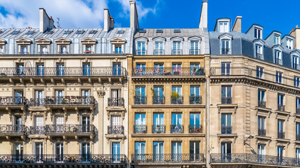 Paris, beautiful building, typical parisian facade  Wall mural