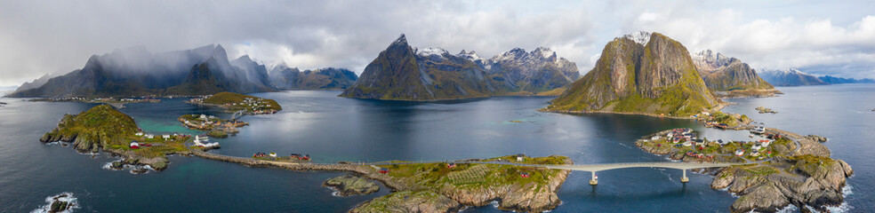 Aerial panoramic of Reine Bay and Hamnoy, Norway