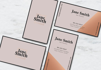 Minimalist Business Card Layout with Pink Geometric Accents