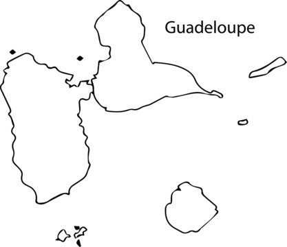 Guadeloupe - High detailed outline map