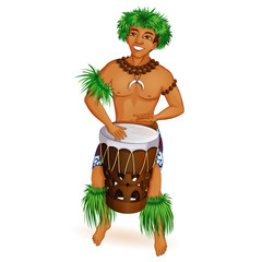 A handsome young man is a Hawaiian, dancer Hula with a drum in national clothes. Musician. Holidays in the Hawaiian Islands. Vector cartoon character.