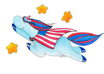 watercolor-painted unicorn on the occasion of the independence day of america