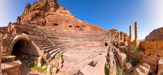 The ancient theater in ancient city of Petra, Jordan