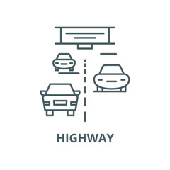 Highway vector line icon, outline concept, linear sign