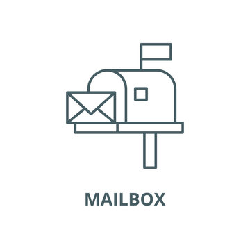 Mailbox vector line icon, outline concept, linear sign