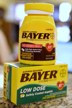 Bottles of Bayer Aspirin sit on a counter at the Rock Canyon Pharmacy, in Provo, Utah