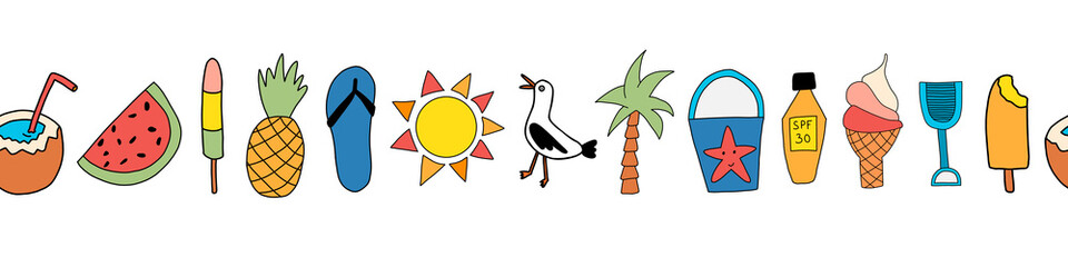 Summer icons seamless vector border. Repeating banner design with watermelon, popsicle, pineapple, coconut, ice cream cone, palm tree, seagull, flipflop sandal, sunscreen