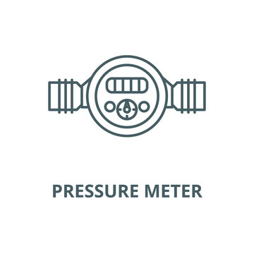 Pressure meter vector line icon, outline concept, linear sign