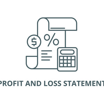 Profit and loss statement vector line icon, outline concept, linear sign