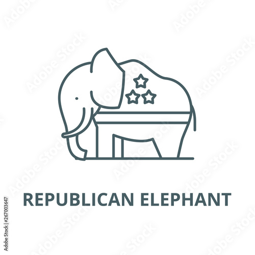 Republican elephant vector line icon, outline concept, linear sign