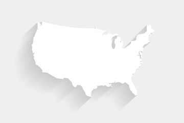 Simple white United States map on gray background, vector Fotomurales