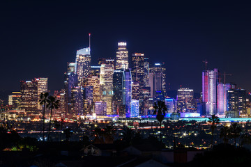 Downtown Los Angeles skyline at night Fototapete