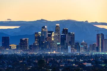 Downtown Los Angeles skyline at foggy sunrise
