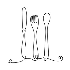 Continuous One Line Cafe Logo - Flat Drawn Cutlery Design - Table-Knife, Fork and Spoon