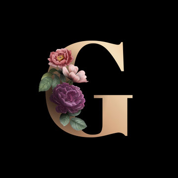 Floral letter G font