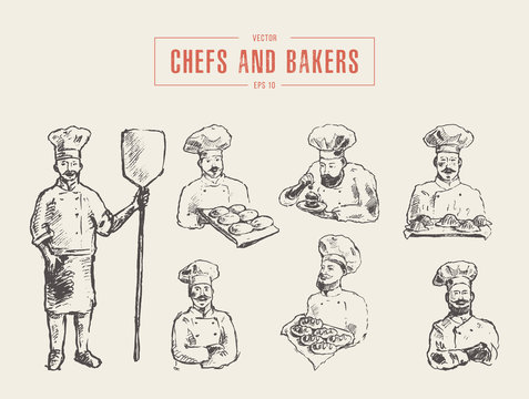 Collection chefs bakers hand drawn vector sketch