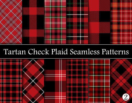 Set  Tartan Plaid Scottish Seamless Pattern