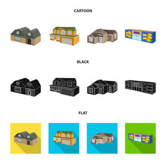 Isolated object of facade and housing symbol. Collection of facade and infrastructure vector icon for stock.