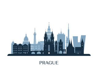 Prague skyline, monochrome silhouette. Vector illustration.
