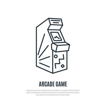Arcade game line icon. Arcade machine symbol. Liner style. Vector illustration.