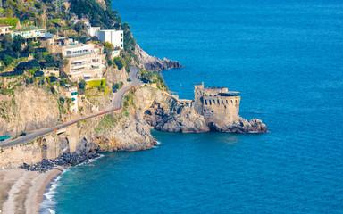 Aerial view of Amalfitan Coast near Maiori in province of Salerno, Campania, Italy Fototapete