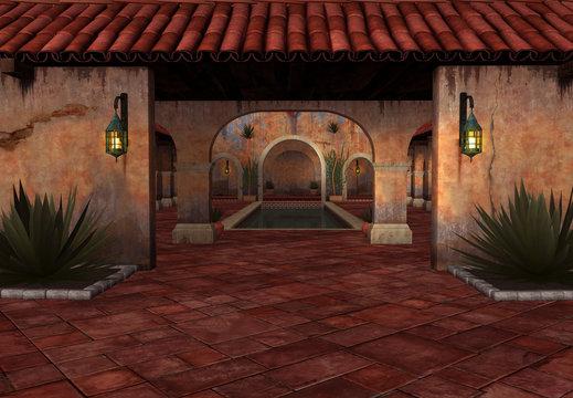 3D Rendered Fantasy Scene with Spanish House at Sunset - 3D Illustration