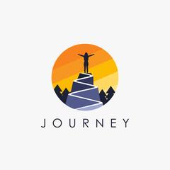 Woman on a mountain peak, freedom logo icon inspiration