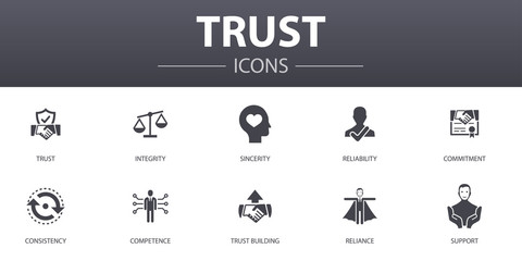 trust simple concept icons set. Contains such icons as integrity, sincerity, commitment, trust building and more, can be used for web, logo, UI/UX