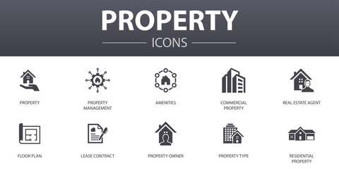 Fototapeta property simple concept icons set. Contains such icons as property type, amenities, lease contract, floor plan and more, can be used for web, logo, UI/UX obraz
