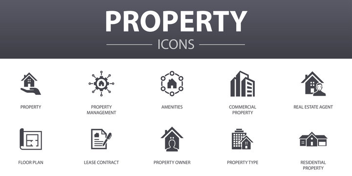 property simple concept icons set. Contains such icons as property type, amenities, lease contract, floor plan and more, can be used for web, logo, UI/UX