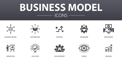 business model simple concept icons set. Contains such icons as strategy, teamwork, marketing, solution and more, can be used for web, logo, UI/UX Wall mural