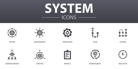 Fototapeta system simple concept icons set. Contains such icons as management, processing, plan, scheme and more, can be used for web, logo, UI/UX obraz