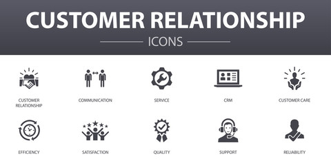 Obraz customer relationship simple concept icons set. Contains such icons as communication, service, CRM, customer care and more, can be used for web, logo, UI/UX - fototapety do salonu